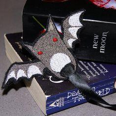 Baby Vampire Bat Embroidered Bookmark MTCoffinz $5