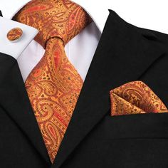 2016 Fashion Silk Jacquard Tie Orange Red Paisley Tie Hanky Cufflink Set Business Wedding Party Ties For Men Mens Fashion Sweaters, Paisley Tie, Cufflink Set, Tie And Pocket Square, Pocket Squares, Wedding Ties, Tie Set, Silk Ties, Bow Ties
