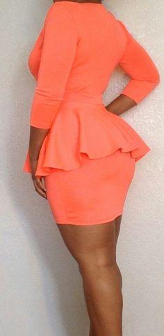 Plus Size Orange Peplum Bodycon Dress by PINKSORBIE on Etsy