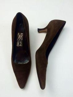 Salvatore Ferragamo 7.5 AA Brown Suede Pointed Toe Pumps Kitten Heels Pinup #SalvatoreFerragamo #PumpsClassics