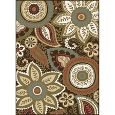 Invigorate your home with this sassy transitional floral paisley area rug. The stylized blossoms and leaves make an engaging accessory to any room. Made of looped polypropylene yarn to be durable and affordable. Non-skid backing keeps it from sliding on wood, laminate and tile floors, making this ideal for the kitchen, entryway, bathroom or family room. Spot clean with mild detergent and water; vacuum on high-pile setting. May be machine-washed and allowed to air-dry.