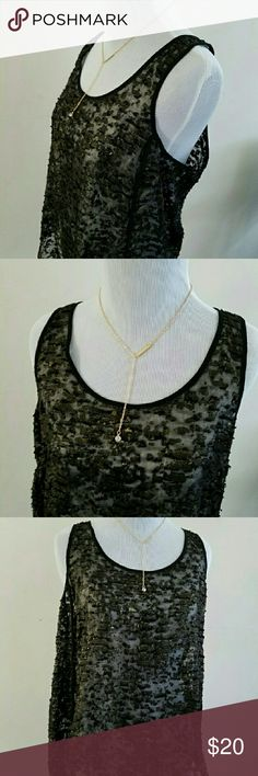 KENNETH COLE sheer black and gold tank top Kenneth cole sheer black and gold tank top. Could be worn with a sexy bralette or a slip underneath. Kenneth Cole Tops Tank Tops