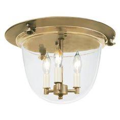 "Flush Ceiling Bell Lantern   3x40 watts (candle base socket), 9.5""H x 13.75""W   FM10031 AB (Antique Brass) $299"