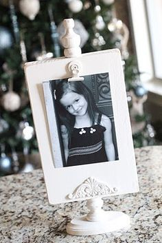 DIY Wood Photo Display with Finial and Clip