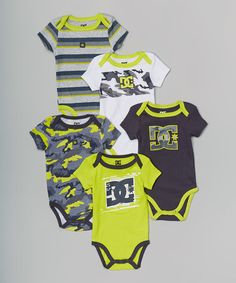 Another great find on #zulily! Black & Neon Yellow Bodysuit Set - Infant by DC #zulilyfinds
