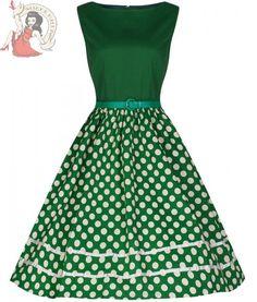 Lindy Bop 50's AUDREY vintage style POLKA DOT DRESS GREEN & CREAM #LindyBop #50sRockabilly #Party