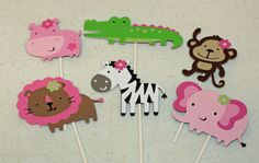 12 Pink, Brown & Green Girly Jungle Animal Cupcake Toppers, Girl Jungle Birthday, Jungle Baby Shower, Girly Jungle Party. $11.00, via Etsy.