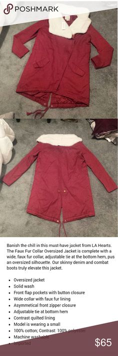 Anorak fur jacket Brand new never worn, tags attached. Sold out online  **** the green jacket featured is just to model, its the exact same coat, just couldn't get a pic online of it in the wine color ****** LA Hearts Jackets & Coats