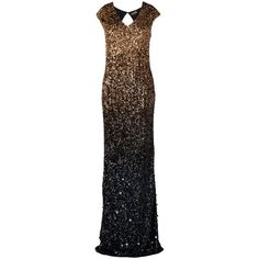 Phase Eight Collection 8 Colette Sequin Dress, Black/Gold ($400) ❤ liked on Polyvore featuring dresses, gowns, flare dress, gold cocktail dress, gold sequin dress, maxi cocktail dress and ombre maxi dress
