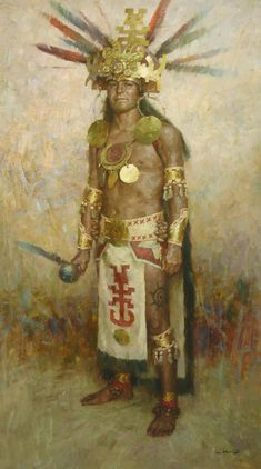 Fine Art oil painting by Z. Creation Photo, Aztec Art, Native American Photos, Bubble Art, Mesoamerican, Le Far West, Mexican Art, Animation, Indian Art