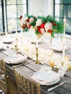 Wood Table With Rose and Fern Garland and Gold Candlesticks | photography by erichmcvey.com