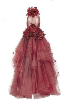 Ombré Tulle Ball Gown by Marchesa Red Ball Gowns, Tulle Ball Gown, Red Gowns, Tulle Dress, Vestidos Marchesa, Marchesa Gowns, Long Red Evening Dress, Red Evening Gowns, Pretty Dresses