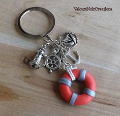 Keychains lifesaver lighthouse anchor helm boat , by Velours Noir Crèations, 10,00 € su misshobby.com