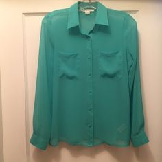 Beautiful blue-green sheer blouse. Great blouse to dress up your jeans.  Looks like new.  So pretty. Forever 21 Tops Blouses