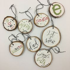 Create this project with Americana® Acrylics — Use inexpensive wood slices to embellish gifts or the Christmas tree this season. Christmas Tree Decorations For Kids, Christmas Gift Tags, Diy Christmas Ornaments, Christmas Projects, Handmade Christmas, Holiday Crafts, Christmas Holidays, Cheap Christmas, Beach Christmas