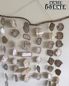 This is such a lovely idea - everyone's handprints in a mobile. So many possibilities would the different color paint, but I do love this natural, earthy look.