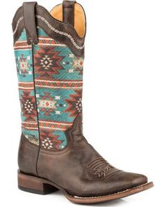5d553ae4976 Roper Women s Brown Printed Aztec Design Western Boots - Square Toe