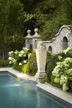 Outdoor Pool, Outdoor Spaces, Outdoor Gardens, Outdoor Living, Formal Gardens, Outdoor Decor, Beautiful Pools, Beautiful Gardens, Beautiful Soup