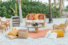 Pink and Orange Citrus Wedding at Hotel Esencia Picnic Style, Rustic Bench, Beach Ceremony, Tropical Style, Outdoor Furniture Sets, Outdoor Decor, Elopement Inspiration, Floral Design, Wedding Planning