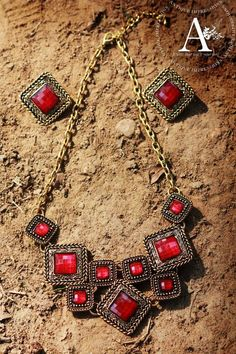 Howlite cut square stone necklace with earrings - Red howlite natural gemstone pendant Pendant @ www.mirraw.com