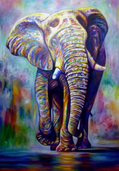 Acrylic painting 200 x 130 cm. The varnish to protect a painting has been applied. When sending to overseas , put the rolled canvas in a plastic pipe and send by EMS. Acrylic Portrait Painting, Oil Painting Pictures, Acrylic Painting Techniques, Acrylic Painting Canvas, Elephant Canvas Painting, Cartoon Elephant, Elephant Art, African Art Paintings, Animal Paintings