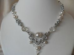 Pearl and crystal bridal necklace by JulasChainmaille on Etsy, £38.00