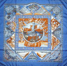 """Hermès Carré """" Au son du Tam-Tam by laurence_bourthoumieux, 1997 Versace Scarf, Hermes Paris, Scarf Design, Vintage Market, Textile Patterns, Pattern Design, Digital Prints, Vintage World Maps, Silk"""