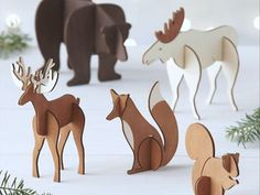 icu ~ Pin on Craft Idea ~ Shop Laser-Cut Wood Animals. Laser-cut wood pieces assemble into freestanding animals for individual display or as part of woodland scene with other objects in the laser-cut wood collection. Cardboard Animals, Cardboard Crafts, Wood Crafts, Cardboard Furniture, Crate Crafts, Cardboard Playhouse, Laser Cutter Ideas, Laser Cutter Projects, Noel Christmas