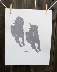 Screenprinted Art: Wild Horses - Love