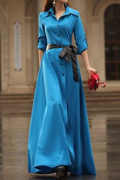 Stylish Women's Turn-Down Collar Long Sleeve Solid Color Dress