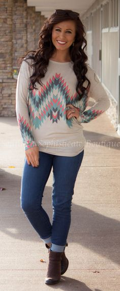 Long Sleeve Aztec Tunic / Southern Sophisticate Boutique