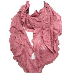 Elegant Pink Soft Woven Infinity Loop Figure Eight Endless Scarf Wrap   One of the popular items of this season, the Infinity Scarf is an easy wrap for a cool evening or a great color accent.. Elegant wrap for a cool evening or a color accent, our Shawl Scarf Wrap is made of wool blended with viscose. Unique understated woven ruffle design pattern allows to wear it as a scarf over you  sweater or suit, a luxurious addition to an evening dress, or just the classic light wr...