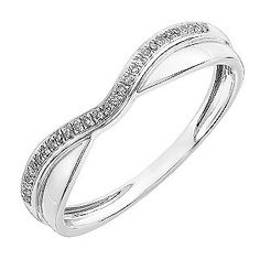 A beautiful shaped wedding ring crafted in 9ct white gold part polished and part set with sparkling diamonds. An enchanting ring to symbolise the start of your new life together.
