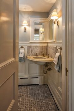 Small Half Bath With Corner Sink Mirror
