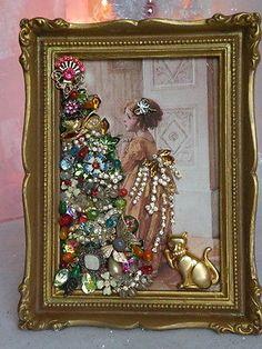 Framed-VTG-Jewelry-XMAS-Victorian-Postcard-XMAS-Tree-Girl-Fabric-Block-Frame