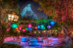 Mad Hatter's teacups at night -- I have always loved how magical this area feels after dark!