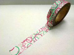 Japanese Washi Masking Tape - colorful circle -  pink on Etsy, €2,04