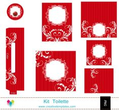 Kit Toilette Vermelho floral mod:107 - **Kit Toalete   Creativstemplates