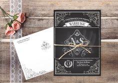 Chalkboard Wedding Invitation - Rustic Invites by Megan Elizabeth - Printed or Printable on Etsy, $2.00