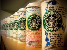 I would love to do this with the starbucks cups I get from other places but I don't know where I would display them!