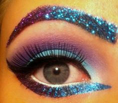 Lashes, perfectly groomed brows & glitter w non toxic glue stick glue & strategic poly glitter w some pigment