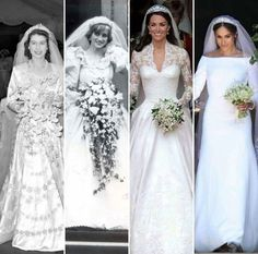Four Royal British weddings: Princess Elizabeth (later Queen Elizabeth II), Lady Diana Spencer (The Princess of Wales), Kate Middleton (The Duchess of Cambridge), and Meghan Markle (The Duchess of Sussex). Princess Diana Family, Princes Diana, Prince And Princess, Royal Brides, Royal Weddings, Lady Diana, Princesa Kate Middleton, Prince Harry And Megan, Elisabeth Ii