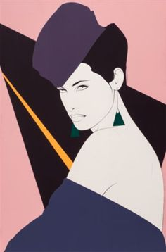 #1980s #Fashion & #style by Patrick Nagel (1945-1984), Carol, Acrylic on canvas.
