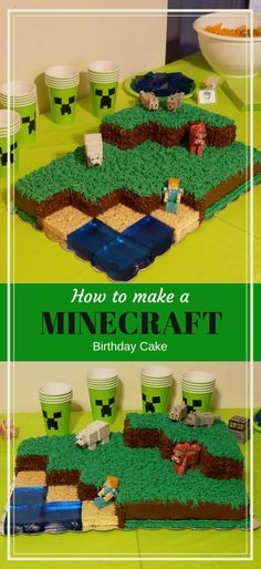 to make and decorate a Minecraft Landscape birthday cake - Dus. How to make and decorate a Minecraft Landscape birthday cake - DustinNikki Mommy of Three,How to make and decorate a Minecr. Mine Craft Party, Minecraft Birthday Cake, Minecraft Cake, Minecraft Houses, Minecraft Garden, Minecraft Bedroom, Minecraft Crafts, Minecraft Skins, Pastel Minecraft