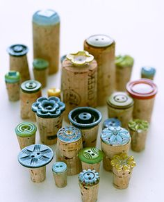 Make corks for wine by adding funky buttons! #DIY