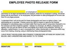 3b19afafb591ed Free Employee Photo Release Form - Word
