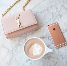 all pink everything: YSL wallet on chain, rose gold iphone Handbags On Sale, Luxury Handbags, Luxury Purses, Hobo Handbags, Ysl Purse, Ysl Bag, Saint Laurent, Dior, Estilo Fashion
