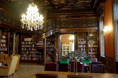 The Szabo Ervin Library in Budapest, Hungary is a beautiful place. Much of the building is a modern library, but in the central library is a preserved palace, Wenckheim Palace. It was built by Count Frigyes Wenckheim (1842 – 1912), a well-known aristocrat of the end of the 19th century, the owner of a vast estate with the membership of the Parliament.  The City Council purchased the building and converted the beautiful palace rooms into reading rooms for their new library in 1931.