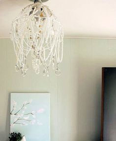 homemade pearl and crystal chandelier...I want to try to make these for my girls bedrooms :-)
