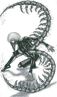 Kaneki Ken, ghoul, white hair, mask, kakuja, centipede; Tokyo Ghoul
